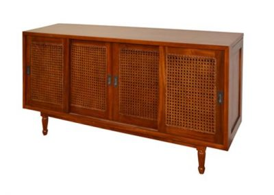 Archi buffet with sliding doors and rattan inlay, 160x40x80cm pictured in walnut stain