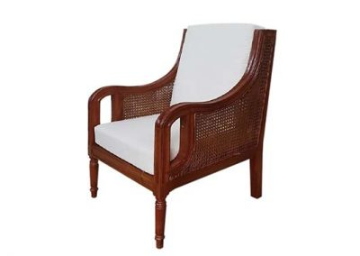 Archi armchair with rattan inlay and base and  back cushions, pictured in walnut stain
