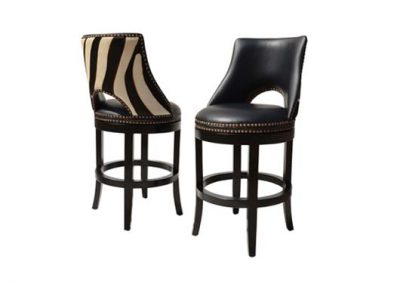 Archi zebra swivel stool, leather and cowhide finish and brass studs, pictured in black stain