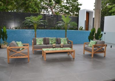 Hampton outdoor lounge , solid reclaimed teak with QDFoam and sunbrella fabric.