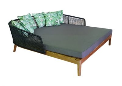 Cicada outdoor daybed lounge 162x174cm , teak timber, aluminum back frame, viro weave, outdoor fabric cushion