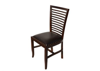 Flamingo dining chair with leather seat and finished in medium stain