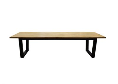Industrial rad dining table, timber top with black painted metal frame 240x100cm