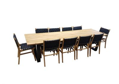 Industrial table 300x100cm, pictured with belle chairs