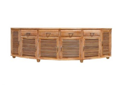 Samrong curved buffet all slats , 4 drawers 285cm