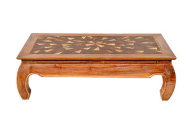 Opium coffee table with coconut timber inlay, 120x70cm