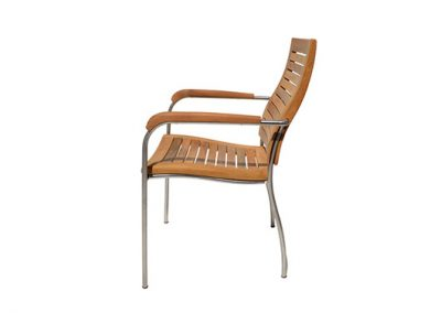 Riviera dining armchair , 304 grade stainless steel and teak timber