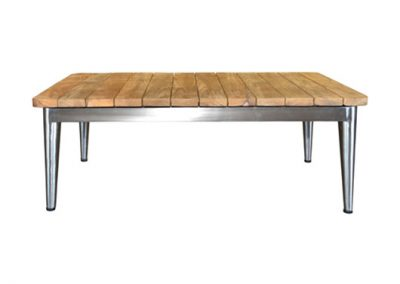 Riviera coffee table 120x70cm , 304 grade s/steel and teak timber