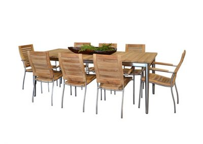 Riviera dining setting 304 grade stainless steel and reclaimed teak