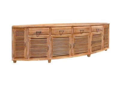 Samrong curved buffet all slats, 285x40x80cm , finished in white wash
