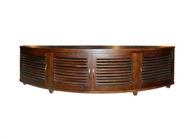 Samrong curved tv unit all slats, finished in medium stain