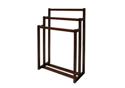 Towel rack 3 rail medium stain 80x35x115cm