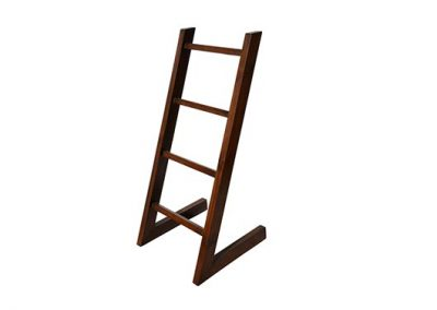 Towel L rack stand in medium stain 80x50x100cm