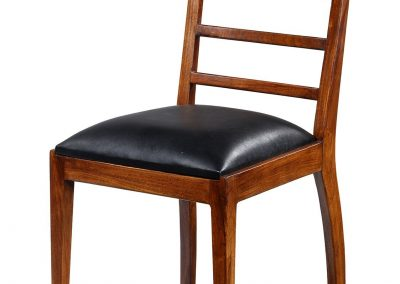 Alto dining chair with black leather seat in oak stain