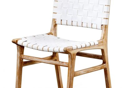 Belle dining chair leather strap and in white wash