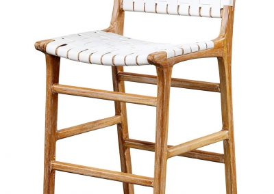 Belle stool with back , leather straps and in white wash