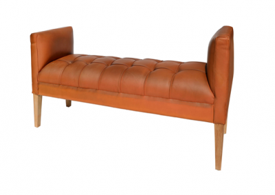 Chesterfield full leather bench  130cm