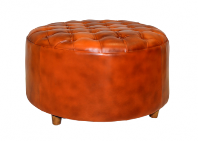 Chesterfield full leather ottoman