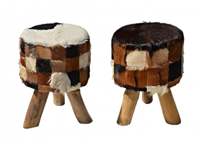 Patchwork cowhide stool with natural legs