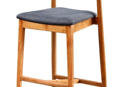 Gus stool with fabric seat in teak clears