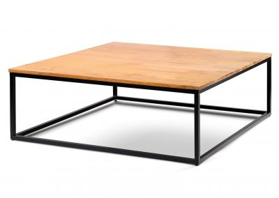 Industrial coffee table 130x130x45cm black painted metal with Teak clear top