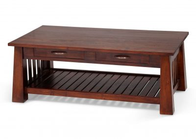 Jati Coffee table with drawers , shelf 120x70x45cm in medium stain