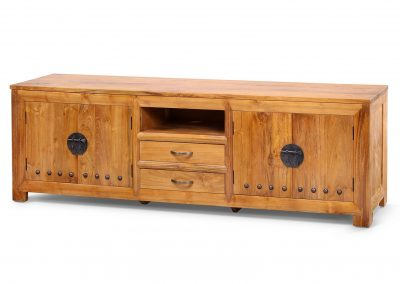 Jaya tv unit reclaimed teak timber brass studs 190x40x60cm