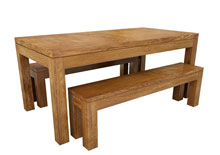 Plain dining table with benches