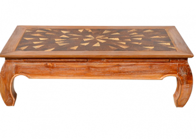 Opium coffee table with coconut timber inlay 120x70 / 130x130cm