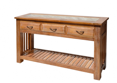 Oracle carved seja console in white wash