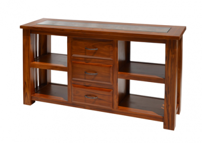 Oracle carved with centre drawers and shelf in walnut stain 140cm
