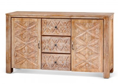 Oracle carved buffet 160x40x90cm in white wash