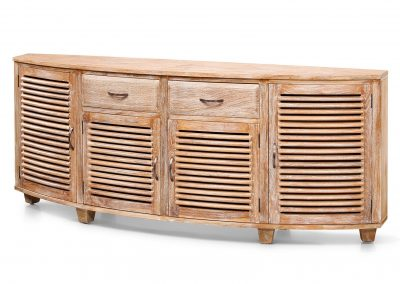 Samrong curved buffet all slats 2 drawers 200x40x80cm in white wash