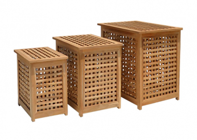 Timber slatted baskets set of 3