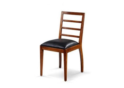 Alto dining chair with black leather seat