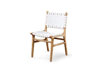Belle dining chair leather strap in white wash