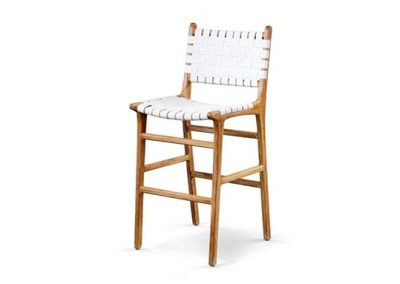 Belle stool with back leather straps in white wash