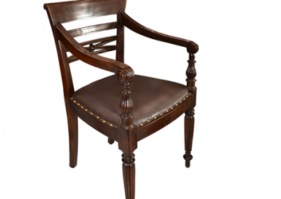 Carved chair with leather seat