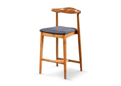 Gus stool with fabric seat in teak