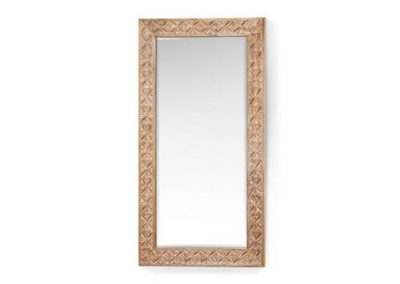 Oracle carved mirror 120x60cm in white wash