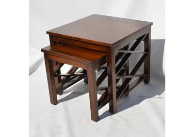 Madu side table set  in medium stain