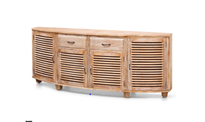 Samrong curved buffet all slats with 2 drawers 200x40x80cm