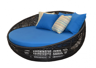 Utar outdoor round day bed lounge black viro