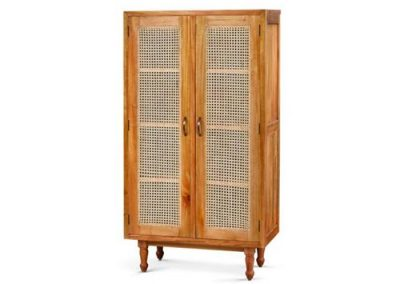 Archi cabinet with 2 rattan inlay doors 3 shelves 90x45x160cm