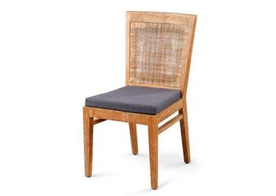 Archi Beach dining chair with rattan inlay back and separate seat cushion
