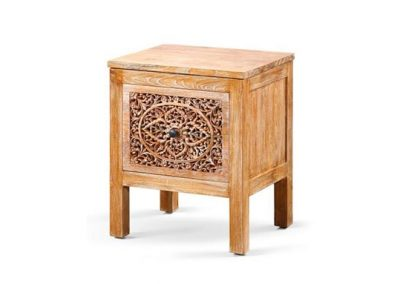 Oracle carved madi bedside 1 drawer 50x40x60