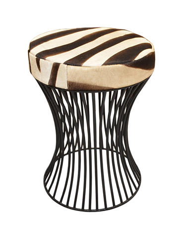 Wire stool with zebra cowhide