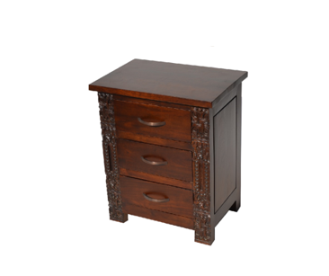 Rhawana bedside with carving