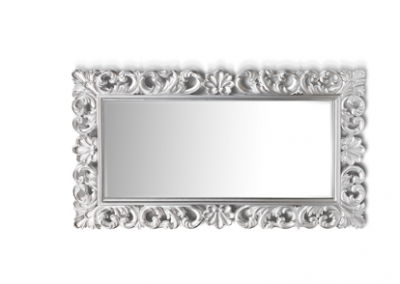 Silver painted timber carved mirror